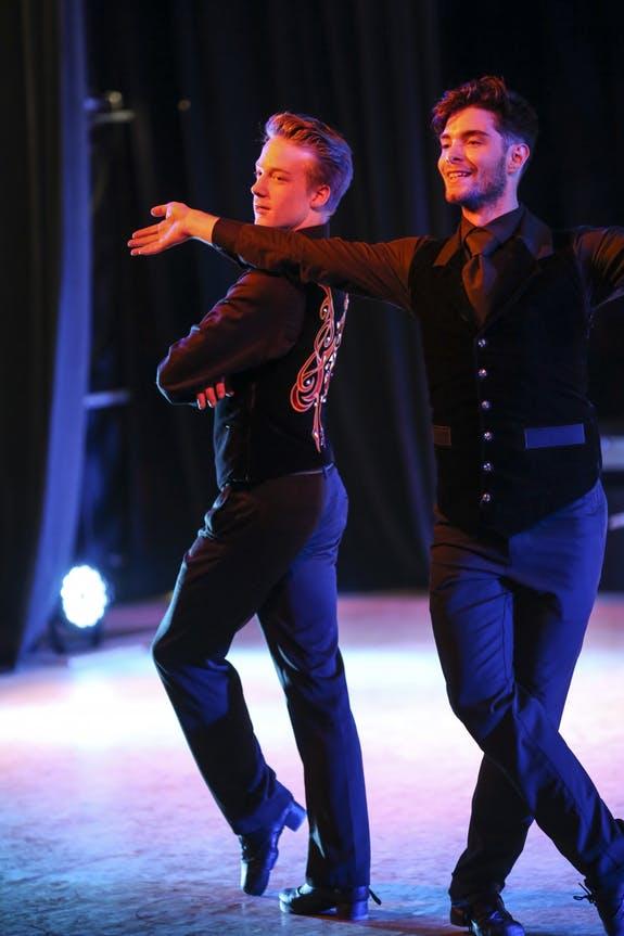 Liam Slattery and Evan Lowe practiced a performance at O'Shea Irish Dance.
